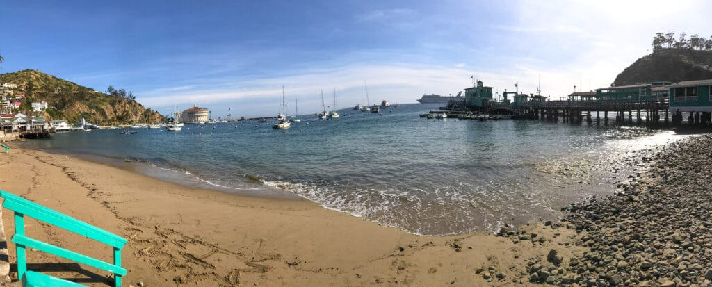 Beach view of Catalina Island harbor