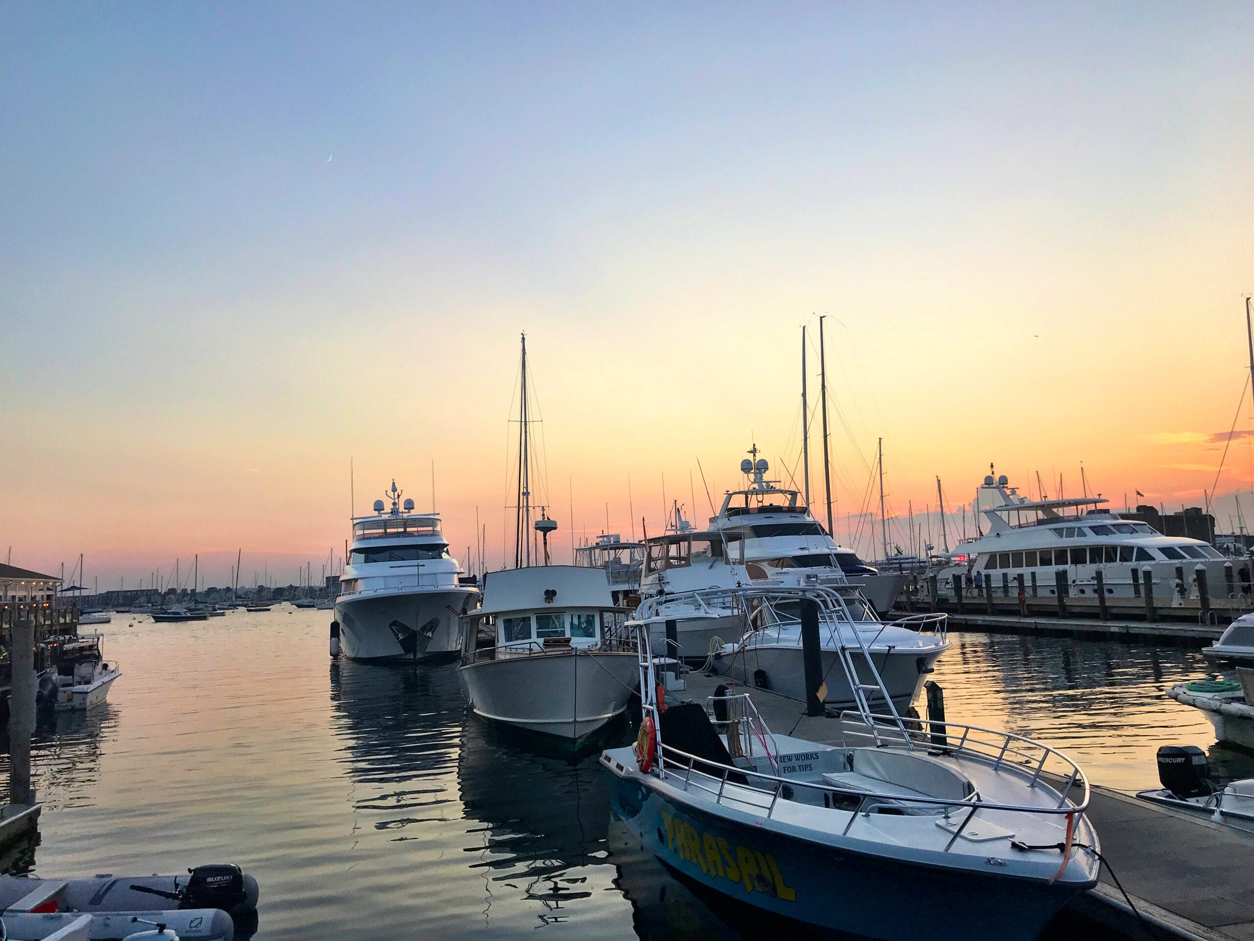 Rhode Island Newport Harbor, Sunset on the water with boats
