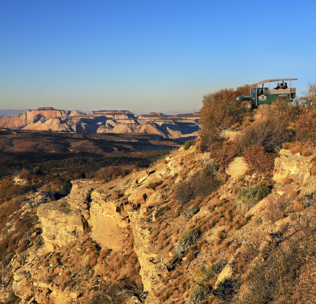 Jeep overlooking mountain landscape zion