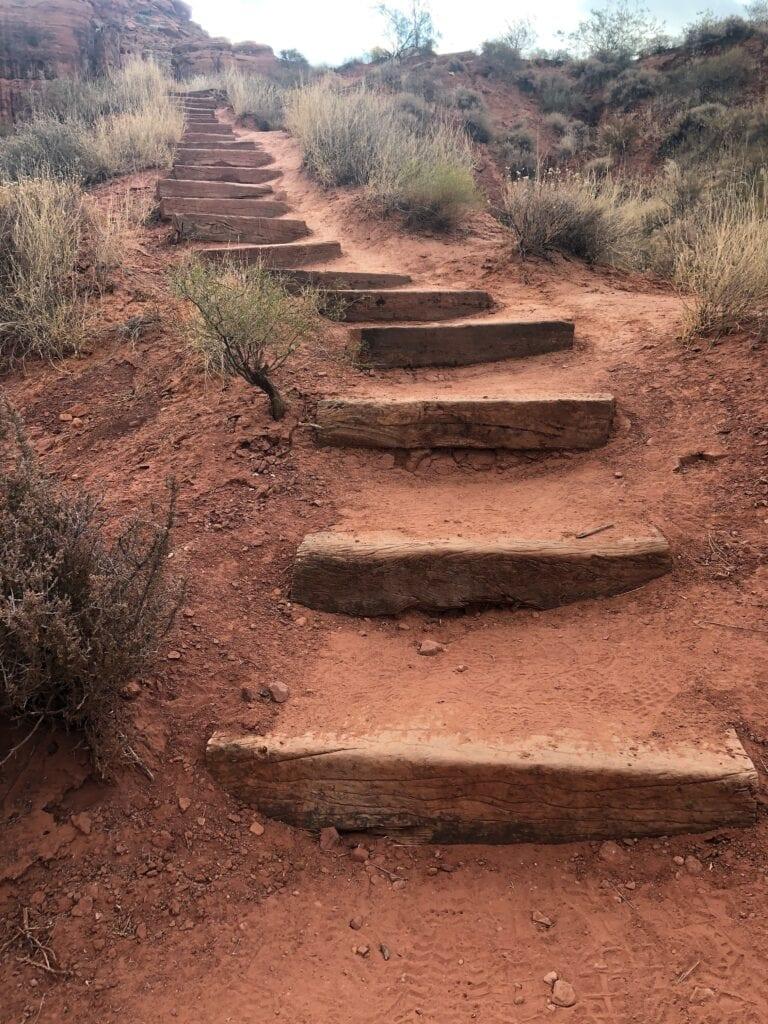 wooden steps in the desert