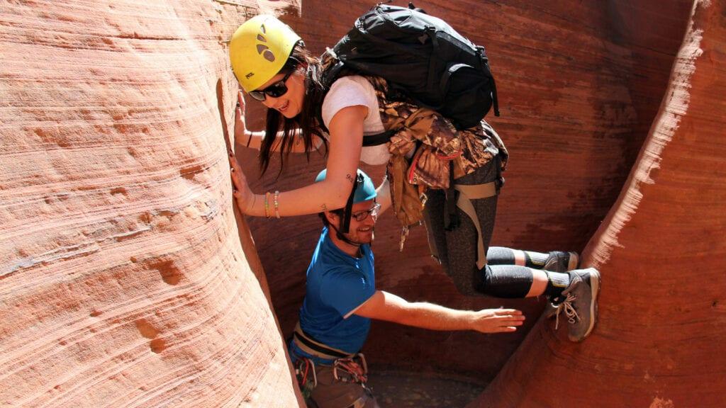 canyoneering woman