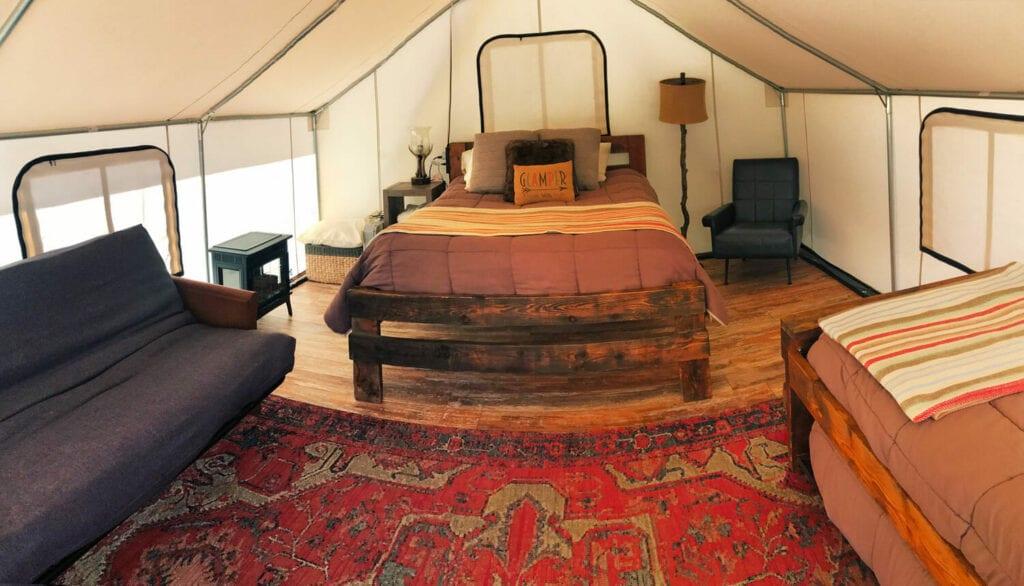 glamping interior tent