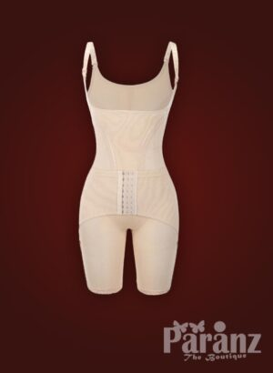 Beige open-bust style elastic strappy sleeve multi-layer waist slimming body shaper New Raw view (10)