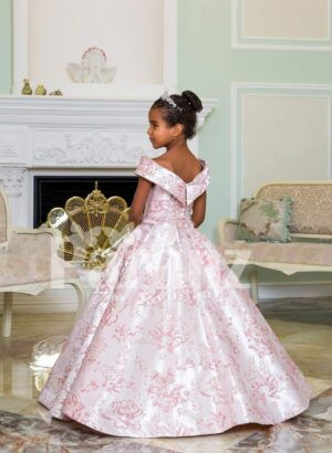 Criss-cross of shoulder style baby gown with flared and pleated high volume skirt back side view