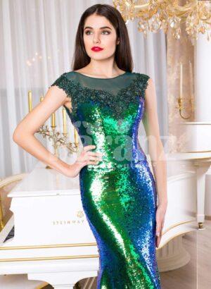 Glitz black-blue-green floor length mermaid style evening satin gown for women