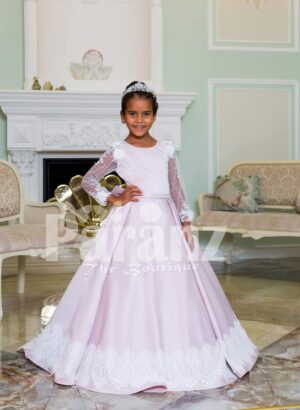 Rich satin full sleeve and white lace work floor length soft baby gown in light mauve