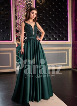 Women's Super Pigmented Green Smooth Satin Evening Gown with Sleeveless Glitz Bodice