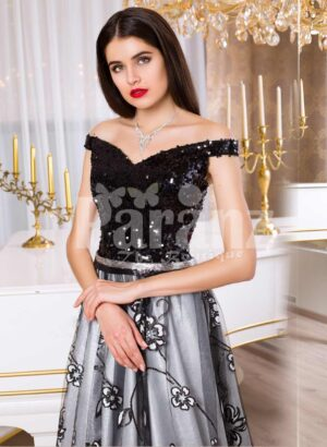 Women's glam black bodice floor length evening gown with silver tulle skirt
