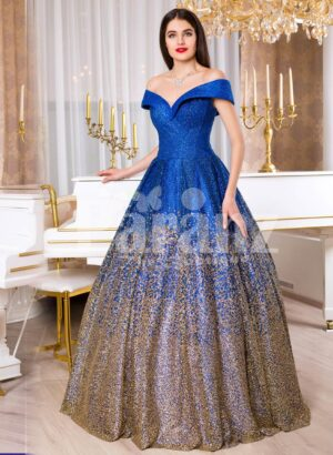 Women's high volume satin evening gown with tulle skirt underneath and off-shoulder bodice