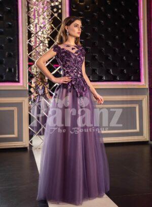 Womens fairy princess appliquéd bodice purple gown with floor length tulle skirt