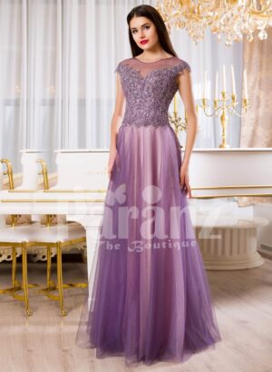 Womens floor length tulle skirt evening gown with royal rhinestone studded bodice in mauve