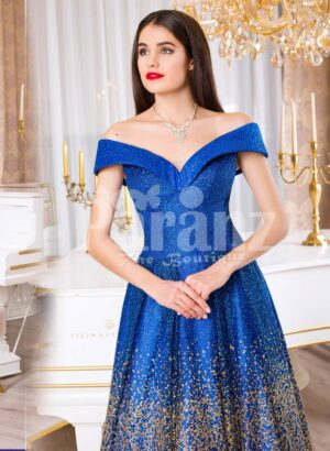 Womens high volume satin evening gown with tulle skirt underneath and off-shoulder bodice