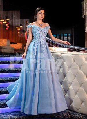 Womens off-shoulder super stylish fairy princess style flared tulle skirt evening gown