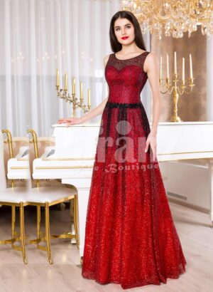 Womens red and black floor length rich satin evening gown with breathable lining