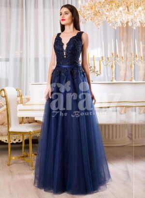 Womens sleeveless navy floor length gown with rich rhinestone studded bodice