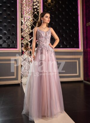 Womens super glam floor length tulle skirt evening gown with royal appliquéd bodice