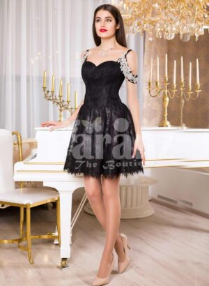 Womens super glam glossy black rich satin small gown with white pearl decorations