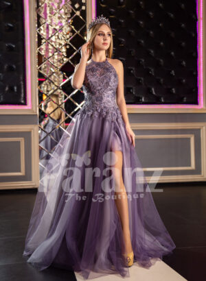 Womens super stylish off-shoulder flared tulle skirt gown in metal purple