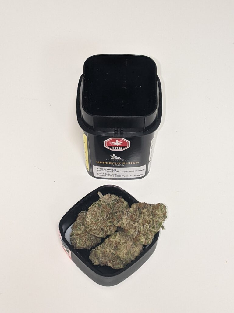Uppercut Punch by Alberta Bud; Indica dominant and 1.5% total terpene content