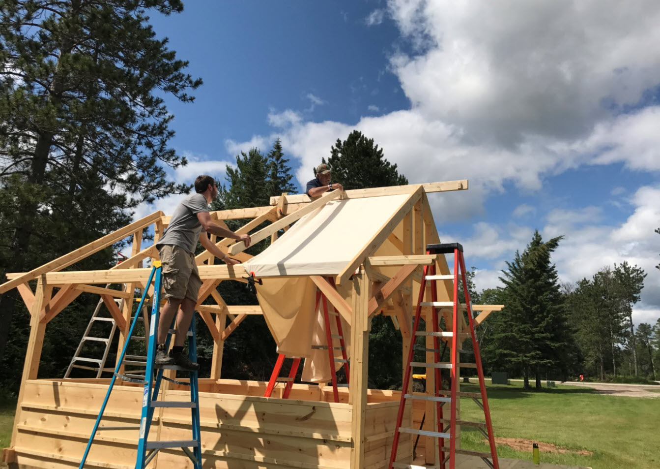 Hideout Tent Cabin Canvas Roof Installation