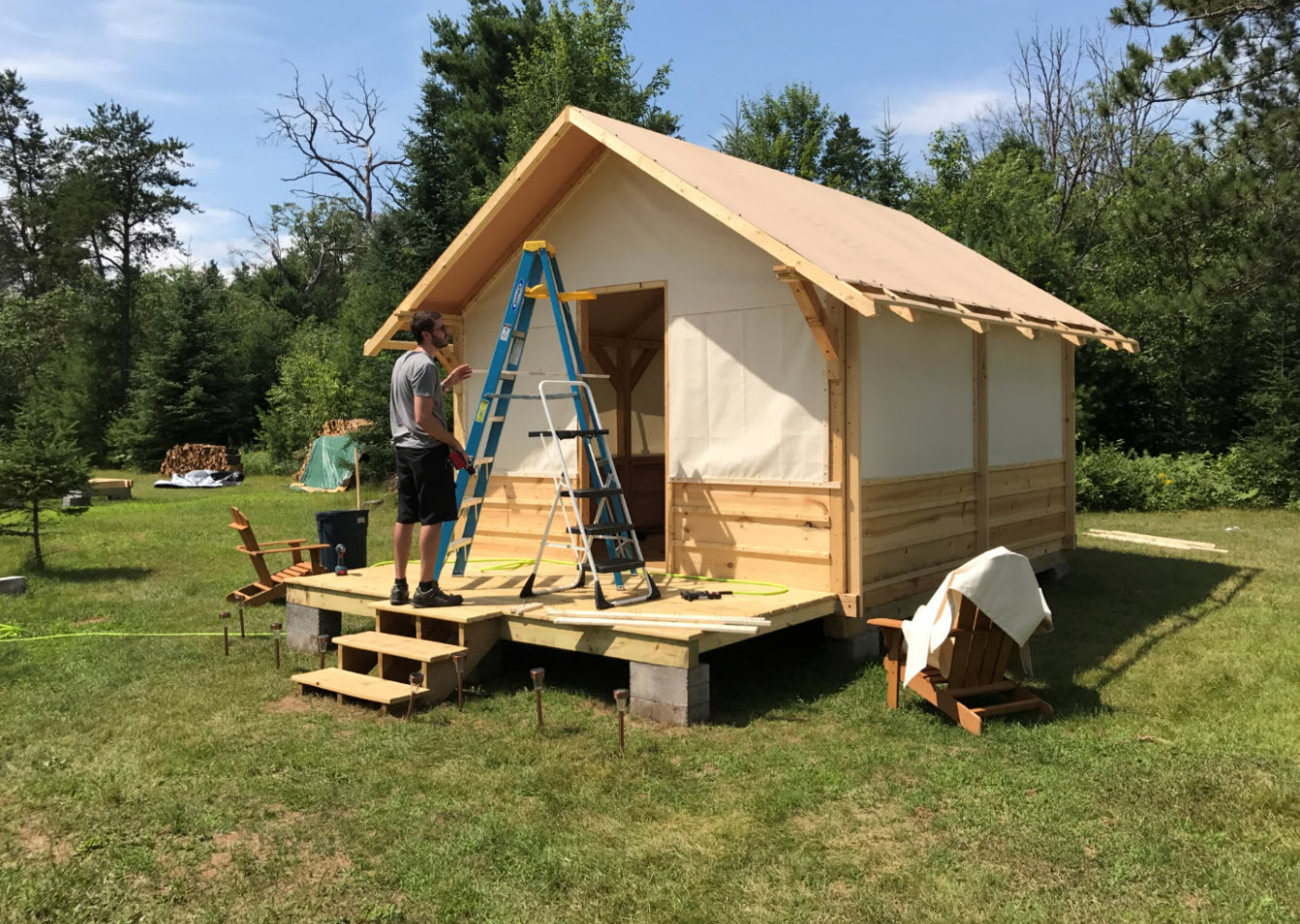 Hideout Tent Cabin Canvas Wall Panel Installation