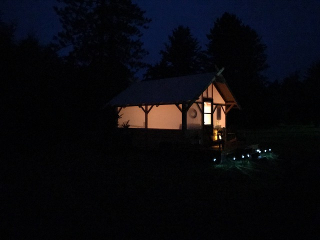 Tent Cabin Glowing At Night