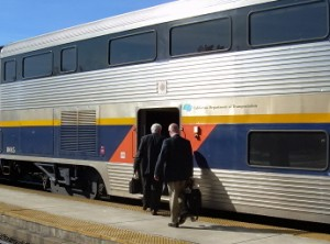 The UP's Tom Mulligan (right) and CCJPB's Gene Skoropowski board a Capitol train at the Suisun station enroute to Sacramento in November, 2007.