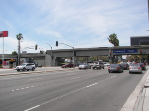 The current view of where a Light Rail Station will be built near LAX at Century Blvd