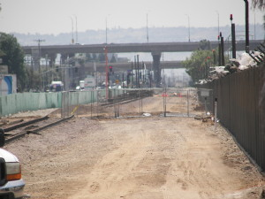 Early construction for utility relocation for Crenshaw Line on the old Harbor Line