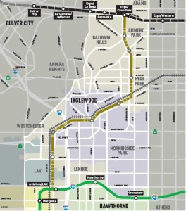 Map of proposed Crenshaw Light Rail LIne showing the old ATSF Harbor Line