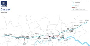 The official map of the Crossrail project now under construction in London