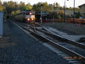 This Auburn station shot shows the switch lined onto Main Track 2 of the UP Roseville Sub for the trip to Sacramento and the Bay Area.