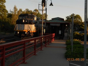 Early morning at the Auburn originating station.  The equipment is stored overnight on the stub track.