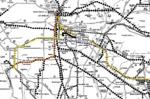 this 1981 rail map shows the rail line in LA. The lines marked in Orange would be the PE from LAX to Union Station. The yellow marked line is the old Santa Fe Harbor line. In Gold is the BNSF and in Lavender is the PE Line to La Harbra