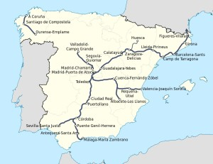 Spain's current High Speed Rail trackage. A Wikimedia Commons Graphic by HrAd