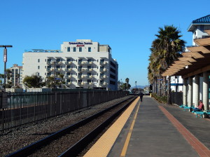A recent view of Oceanside with the 2 resort hotels in the backgrownd