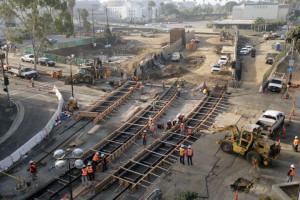 Expo LRT 5th Street grade crossing construction