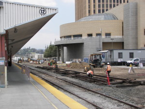 View June 2011 of construction for Platform 7 and tracks 13,14, and 15