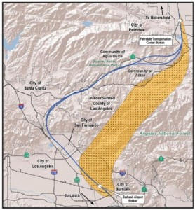 A CHSRA graphic showing the studied route and the area for an alternative route between Burbank and Palmdale