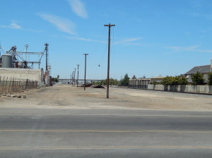 On the left of the pole line is where High speed tracks will be laid and the site of the future Fresno High Speed Rail Station