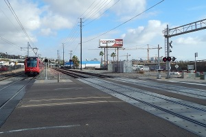 View from Washington St of the Trolley and railroad tracks at the North Side of San Diego's Airport