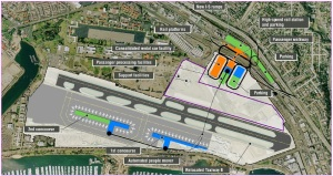 This is the airport by 2035. This includes platforms for High Speed Rail and additional parking for private vehicles at the North Side of the airport