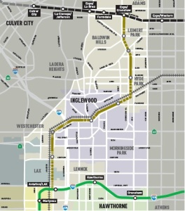 Crenshaw Line with connections to Green and Expo Lines