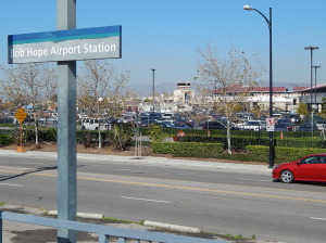 View from trains station at Bob Hope Airport. The covered walkway under construction can be seen on the right.