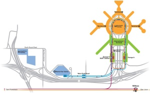 SFO Map showing the terminals, People Mover and rail connections.