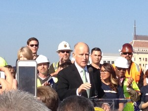 Governor Brown presiding over groundbreaking for High Speed Rail