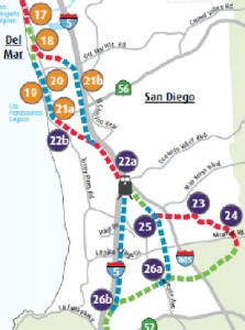 View or the current route at Del Mar and the proposed tunnel along the freeway. Also show is the roundabout route at Miramar and the tunnel shortcut by the I-5.