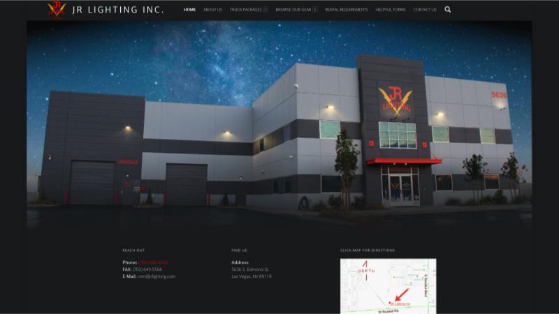 Fox IT Concepts - Website design and management | JR Lighting's Home page capture