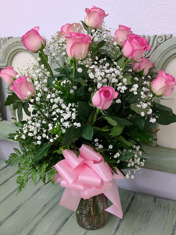 Dozen Rose Vase Pink