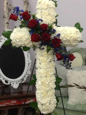 Patriotic Memorial 24″ Cross with Swag